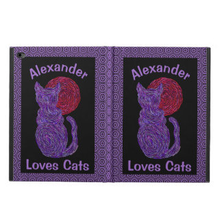 Purple Cat And The Moon Cat Lover Feline Kitten