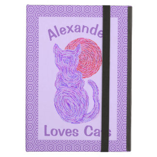 Purple Cat And The Moon Cat Lover Feline Kitten Case For iPad Air