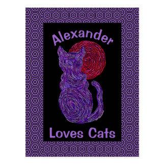 Purple Cat And The Moon Cat Lover Feline Kitten Postcard