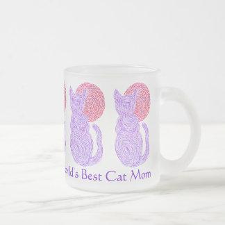 Purple Cat Art World's Best Cat Mom Coffee Mug Cup