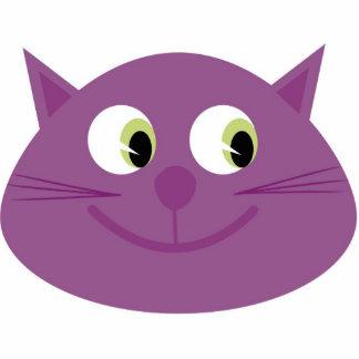 Purple cat brooch photo sculpture badge