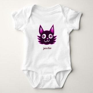 purple cat cartoon style vector illustration baby bodysuit