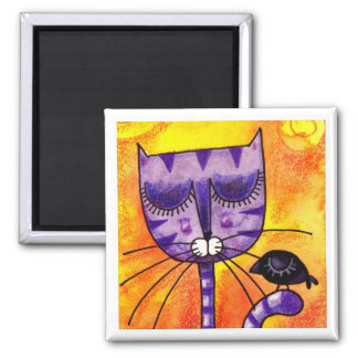 Purple Cat & Crow - Square Magnet