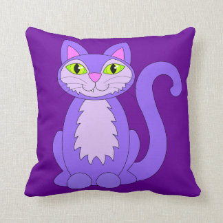 Purple Cat Cute Snaggletooth Kitty Pillow