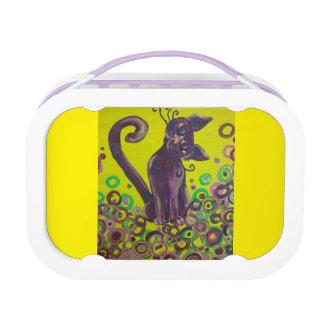purple cat on yellow lunch box