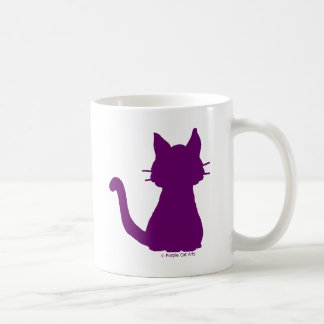Purple Cat Silhouette Basic White Mug