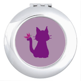 Purple Cat Silhouette Pink Butterfly Travel Mirrors