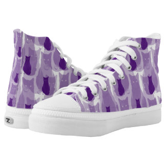 Purple Cats Printed Shoes