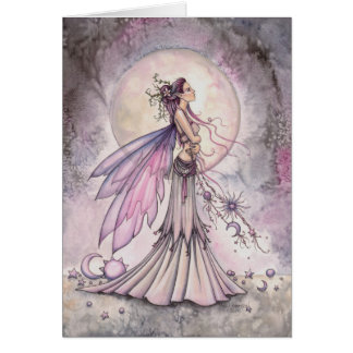 Purple Celestial Fairy Fantasy Art Illustration Card