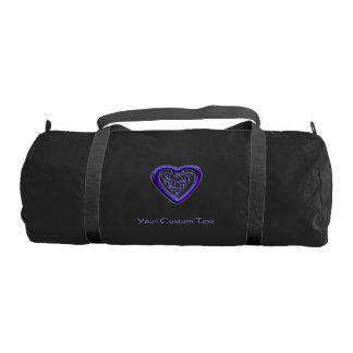 Purple Celtic Heart Knot Personalized Duffel Gym Duffel Bag