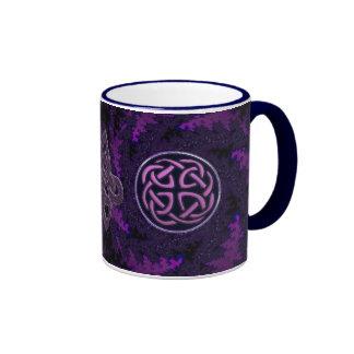 Purple Celtic Knot Fractal Design Ringer Mug