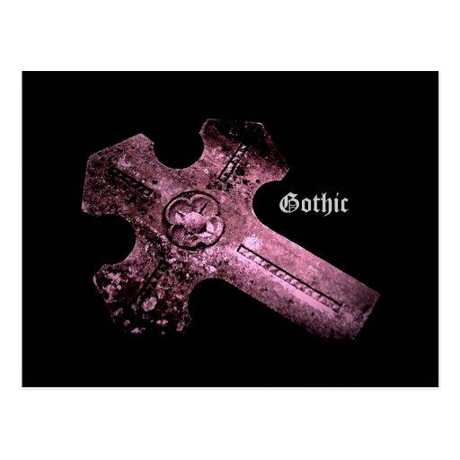 Purple cemetery cross Gothic postcard