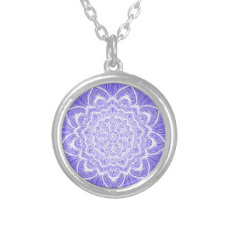 Purple Chakra Blossom, boho, new age, spiritual Silver Plated Necklace