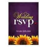 Purple Chalkboard Sunflower Wedding RSVP Cards Custom Invite