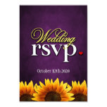 Purple Chalkboard Sunflower Wedding RSVP Cards Custom Invite