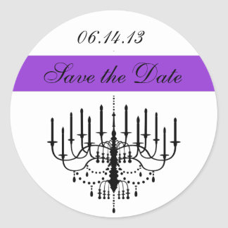 Purple Chandelier Save the Date Stickers