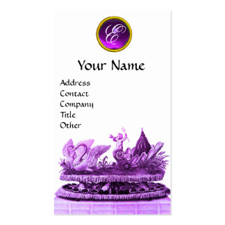PURPLE CHARIOT OF SWANS WITH CUPCAKES AND PASTRY BUSINESS CARD TEMPLATE