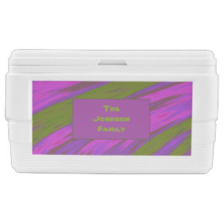 Purple chartreuse Color Swish Abstract Cooler