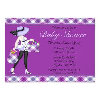 Purple Check Baby Shower Invitation