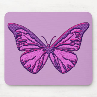Purple Check Butterfly Mouse Pad