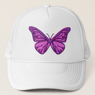 Purple Check Butterfly Trucker Hat