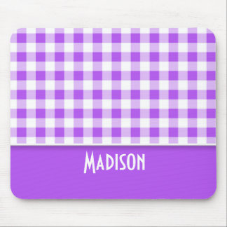 Purple Checkered Gingham Cute Mouse Pads