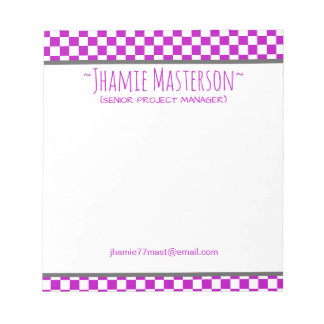 Purple Checkered Notepad