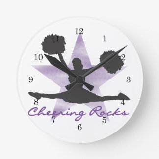 Purple Cheering Rocks Wall Clock
