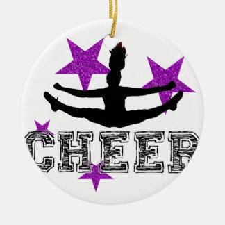 Purple Cheerleader Ceramic Ornament