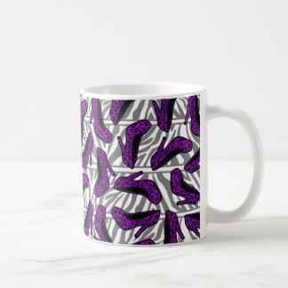Purple Cheetah High Heel Shoe Print on Zebra Coffee Mug