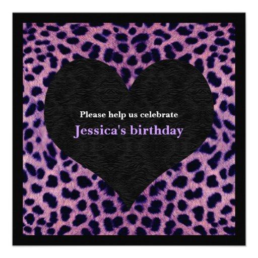 Purple Cheetah Print Party Invitation