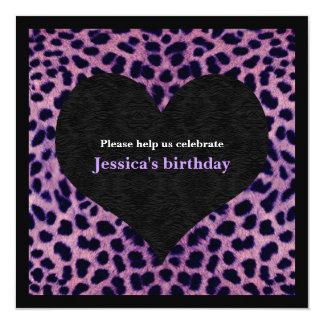 """Purple Cheetah Print Party Invitation 5.25"""" Square Invitation Card"""