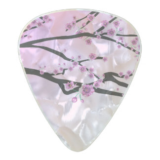 Purple Cherry Blooms Pearl Celluloid Guitar Pick