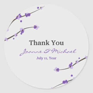 Purple Cherry Blossom Favour Stickers