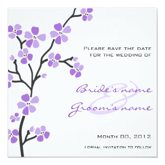 Purple Cherry Blossom Save the Date Cards 13 Cm X 13 Cm Square Invitation Card