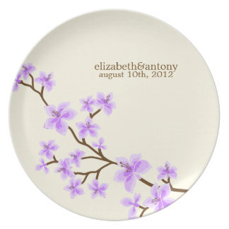 Purple Cherry Blossoms Plate