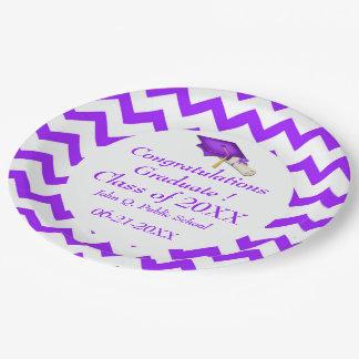 Purple Chevron Graduation Paper Party Plates 9 Inch Paper Plate