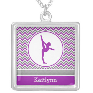 Purple Chevron Gymnast Personalize Square Necklace Square Pendant Necklace