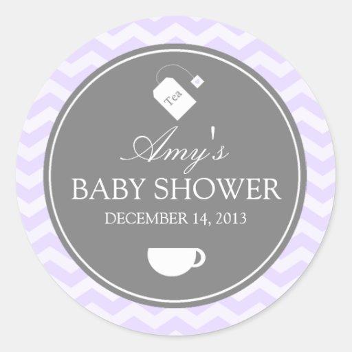 Purple Chevron High Tea Baby Shower Sticker