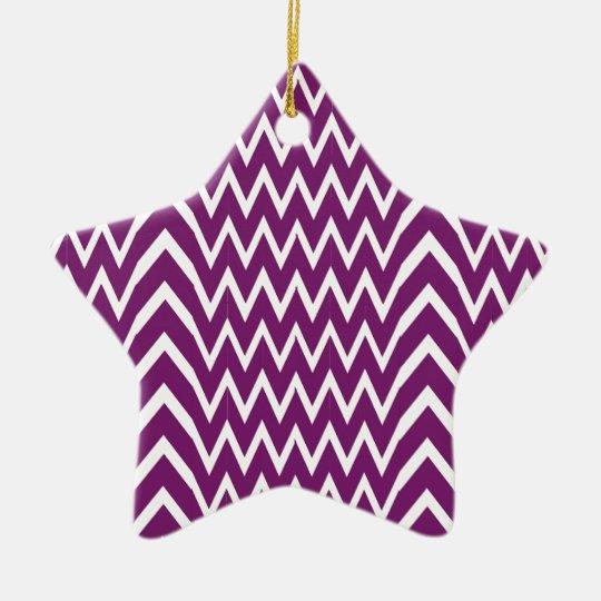 Purple Chevron Illusion Ceramic Ornament