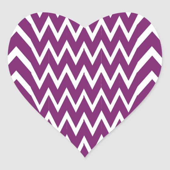 Purple Chevron Illusion Heart Sticker