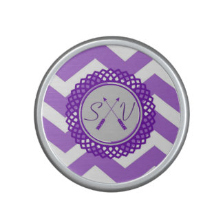 Purple Chevron Monogram Speaker