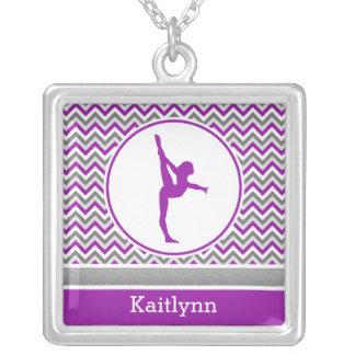 Purple Chevron Stripes Gymnastics w/ Monogram Square Pendant Necklace