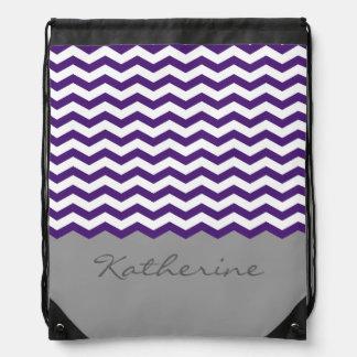 Purple Chevron Zigzag Monogram Drawstring Bag