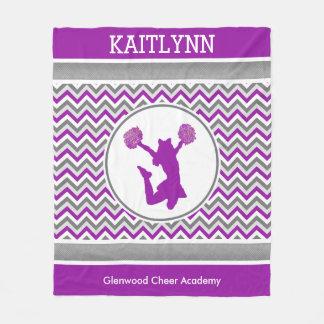 Purple Chevrons Monogrammed Cheer/Pom Fleece Blanket