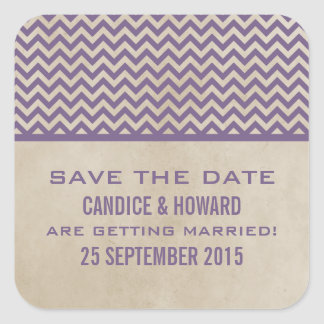 Purple Chic Chevron Save the Date Stickers