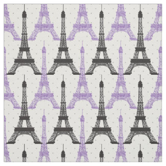 Purple Chic Eiffel Tower Pattern Fabric