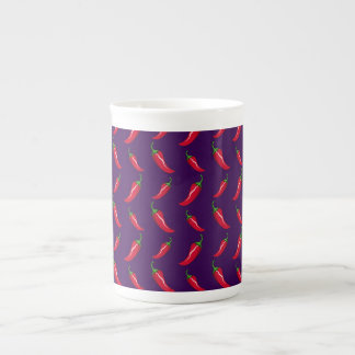 purple chili peppers pattern tea cup
