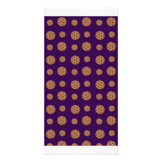 Purple chocolate chip cookies pattern picture card