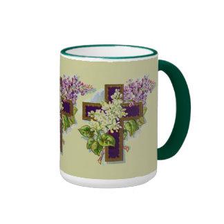 Purple Christian Cross Ringer Mug